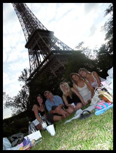 Our picnic dinner by the Eiffel Tower