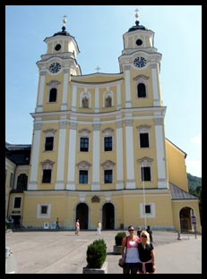 Mel and I infront of The Sound of Music church in Mondsee, Austria