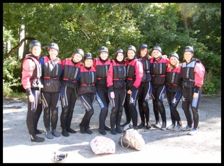 The group all wet-suited up and ready to rock and roll!