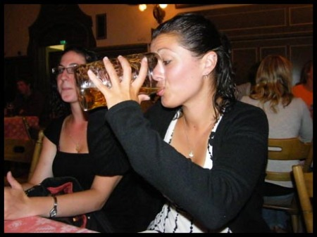 Me struggling to down my German mug of beer!