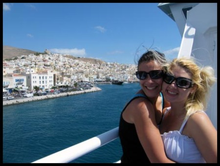 Mel and I super excited as we approach Mykonos on our Ferry