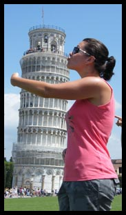 Me kissing and hugging the Leaning Tower of Pisa
