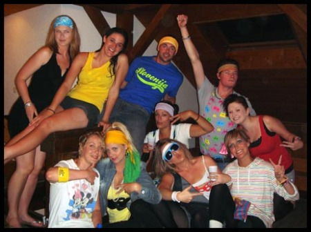 The gang all dressed up and ready to party for 80's night in Switzerland