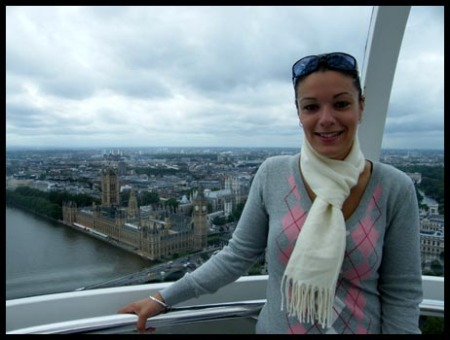 Me on the London Eye with Big Ben and the Houses of Parliament in the background