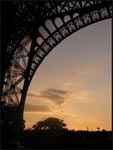 Under the Eiffel Tower at sunset