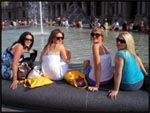 Me, Jade, Jess and Mel kicking back at a fountain in Paris