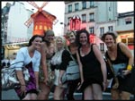 Me, Liz, Mel, Jess, Jac and Jade standing ontop of a fan in front of the Moulin Rouge, Paris