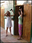 Jade and I doing out hair at our cabins in Barcelona, Spain