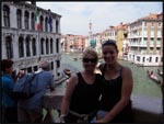 Mel and I on a bridge looking down over the canals in Venice