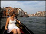 Jade looking out on the view from our gondola in Venice