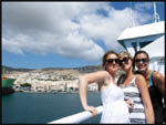 Jade, Jess and myself on our ferry docking at one of the Greek Islands on our way to Mykonos