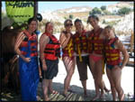 Jac, our tour manager, Jade, me, Jess and Mel before going banana boating
