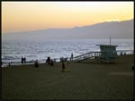 Sunset at Santa Monica Beach, Santa Monico, California