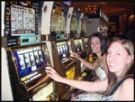 Jess and I playing the slots in Las Vegas, Nevada