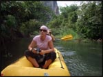 Me in our canoe drifting down the river