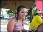 Me getting my hair braided on Patong Beach, Phuket, Thailand