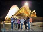 Gavin, me, Nadia, Nicole, Roxi, Cath and Kim in front of the Sydney Opera House, Sydney, Australia
