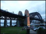 Opposite end of The Sydney Harbour Bridge by dusk