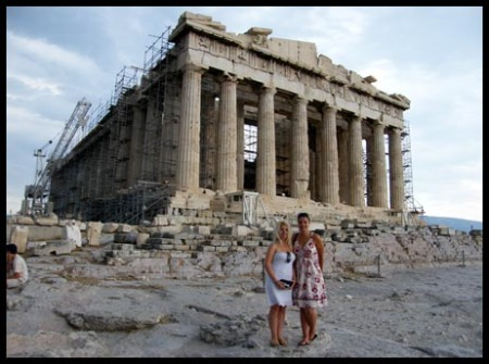 Mel and I in front of the Parthenon in Athens, Greece