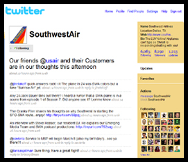 SOUTHWEST AIRLINES TWITTER ACCOUNT
