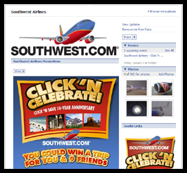 SOUTHWEST AIRLINES FACEBOOK FAN PAGE