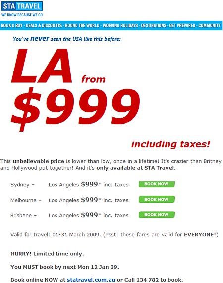 Insane STA Travel airfares at $999 AU inc taxes, Sydney to LA