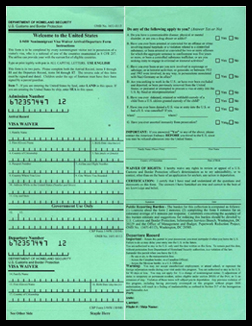 TRADITIONAL I-94W VISA WAIVER FORM PRIOR TO JAN 12, 2009