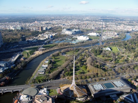 View of the Art Spire & the Yarra River from level 88 of the Eureka Skydeck