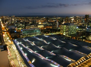 View from the 36th floor looking out over Southern Cross Station, Melbourne