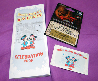 Disney Holiday Celebration 2009 card & Halloween Horror Nights ticket!
